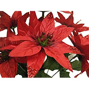 """4 Bushes RED Christmas Glitters Poinsettia 7 Artificial Silk Flowers 12"""" Bouquet 209RD 112"""