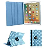iPad Air 2 Case cover,MeiLiio PU leather 360 Degree Rotating with Anti-slip Groove Sleeve Wave Point Pattern Folio Flip Protective Case Cover for Apple iPad Air 2 (Sky Blue)