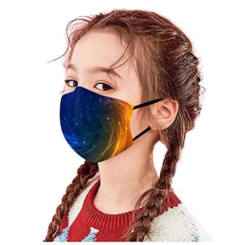 Belcol 5Pcs Kids Reusable Face Bandanas Breathable Seamless Cute Print Cotton Children (Kids 5Pcs, Universe Pattern A)
