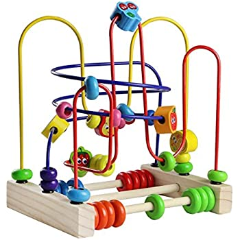d9b546165d951 Wooden Fruits Bead Maze Roller Coaster Activity Cube Educational Abacus  Beads Circle Toys Gift Colorful Activity Game for Children Toddlers Kids  Boys Girls