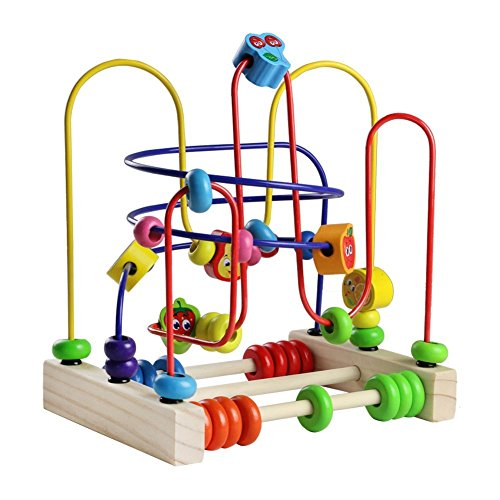 Wooden Fruits Bead Maze Roller Coaster Activity Cube Educational Abacus Beads Circle Toys Gift Colorful Activity Game for Children Toddlers Kids Boys Girls ()