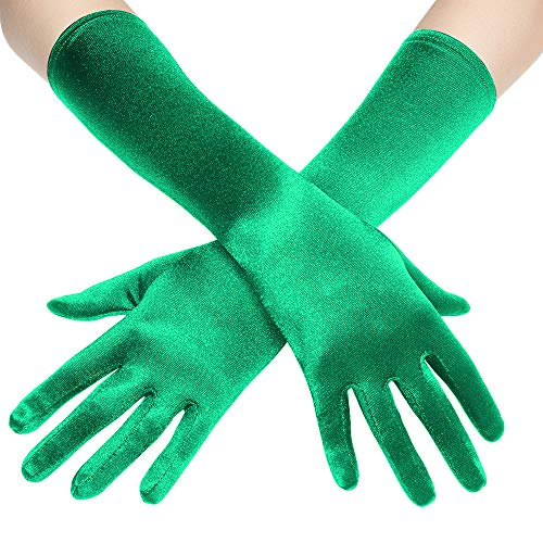 (BABEYOND Long Opera Party 20s Satin Gloves Stretchy Adult Size Elbow Length 20.5