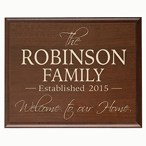 Personalized Family Established Year Signs, Custom Family Established Name Sign Welcome to Our Home Engraved with Family Name and Date Established By LifeSong Milestones (Cherry, 9x12)