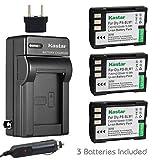 Kastar Battery (3-Pack) and Charger Kit for Olympus BLM-1, BLM-01, PS-BLM1 work for Olympus C-5060, C-7070, C-8080, E-1, E-3, E-30, E-520, EVOLT E-300, E-330, E-500, E-510 Cameras