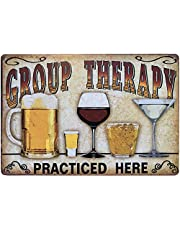 """Retro Tin Metal Sign Bar Cave Beer Signs for Cafe Bar Pub Beer Club Wall Decor Group Therapy Practiced Here 12""""x 8"""""""