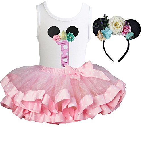 471184341ab4 Kirei Sui Pink Polka Dots Satin Tutu 1st - 6th Birthday Floral Mouse  Headband