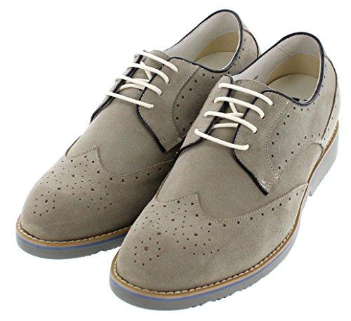Toto-h20023-6,1cm Grande Taille-Hauteur Augmenter Chaussures ascenseur-Gris clair Chaussures Casual en Cuir
