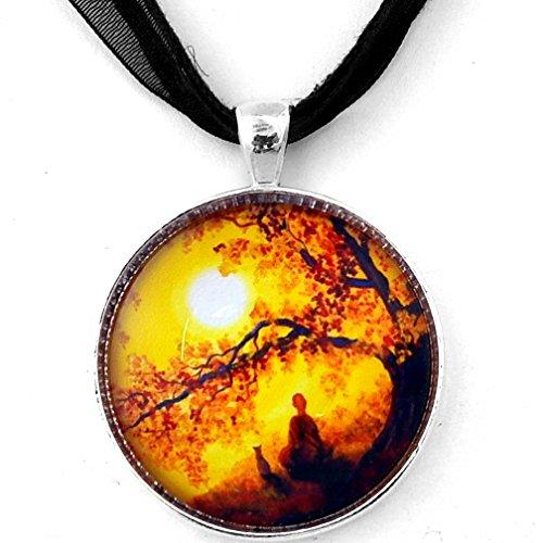 - Laura Milnor Iverson Buddha and Cat Golden Sunset Meditation Handmade Pendant on Black Ribbon Necklace