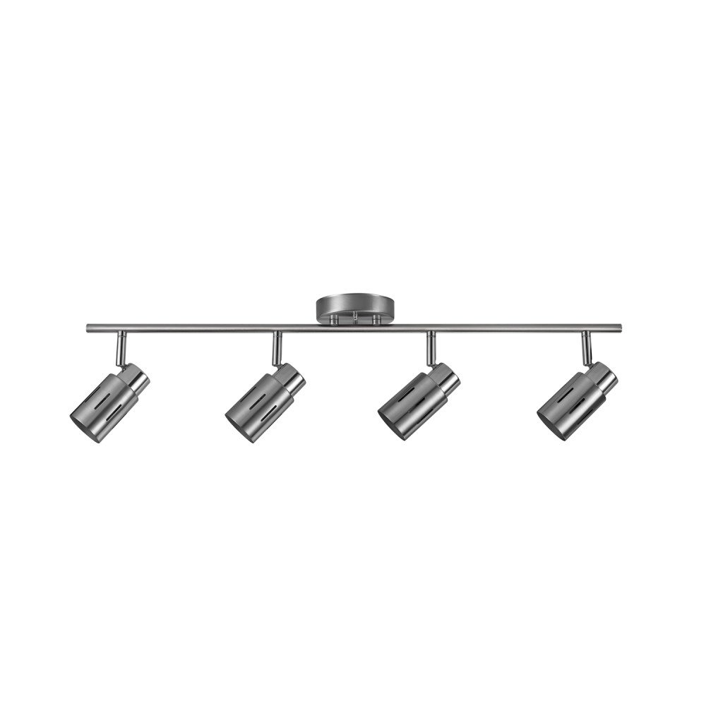 Globe Electric 59326 Kenneth 4 Track Finish, Chrome Accents, LED Bulbs Included, 4 Light, Brushed Steel
