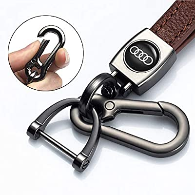 JIYUE Genuine Leather Car Logo Suit for Keychain Suit for Audi A1 A3 A4 A5 A6 A7 A8 Q5 Q7 R8 S5 S7 Q5 RS Key Chain Keyring Family Present for Man and Woman(1pcs): Automotive