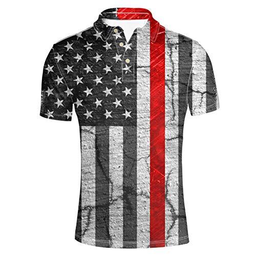 (HUGS IDEA Star Striped Flag T-Shirt Fashion Men's Golf Sport Shirt Summer Short Sleeve)