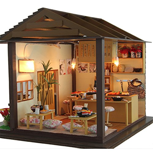 OSHIDE オシデ ドールハウス 寿司屋 手作りキットセット DIY LEDライト付属 ヨーロッパ風 かわいい おもちゃ 組み立てキット 照明 点灯 ミニチュア インテリア クリスマス プレゼント