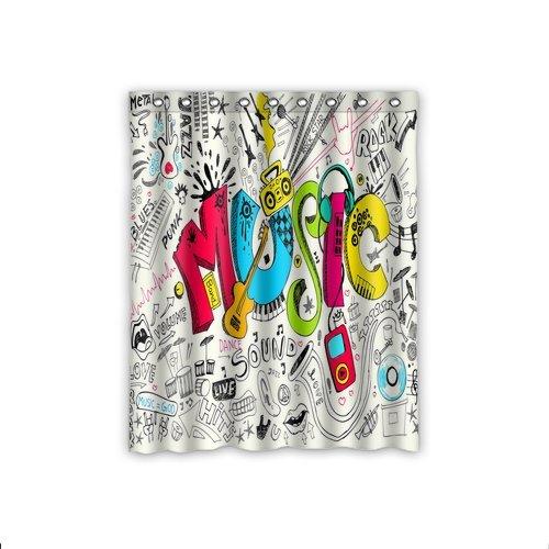 Cheap Creative New Design Custom Cute Graffiti Music Window Curtains – Decorative /Drape/Panel Blackout Window Curtains 52×63 Inch