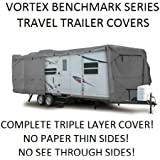 """Vortex Benchmark 27 28 29 30 Ft Travel Trailer Camper Cover, 105"""" Wide, 108"""" Tall, 3 LAYER TOP AND SIDES!!!, Zippered Access Side Panels(FAST SHIPPING - 1 TO 4 BUSINESS DAY DELIVERY)"""