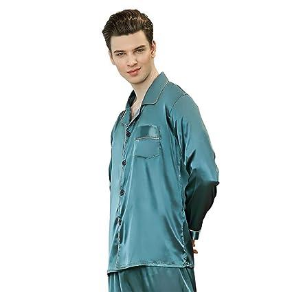 WWAVE Pantalones de Manga Larga Primavera de imitación de Seda Pijamas Hombres Inicio Conjunto de Servicios
