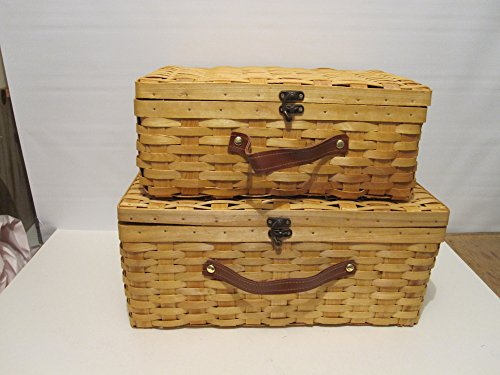 Set Of 2 Picnic Baskets With Lid Suitcase Style With Brown Fuax Leather Handle /Antique Style Lock (Wicker Baskets Antique)