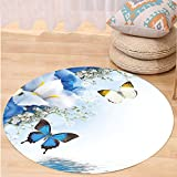 VROSELV Custom carpetFloral Blue and White Wild Flowers with Monarch Butterflies Lily Therapy Zen Spa Art Prints for Bedroom Living Room Dorm Light Blue Round 72 inches