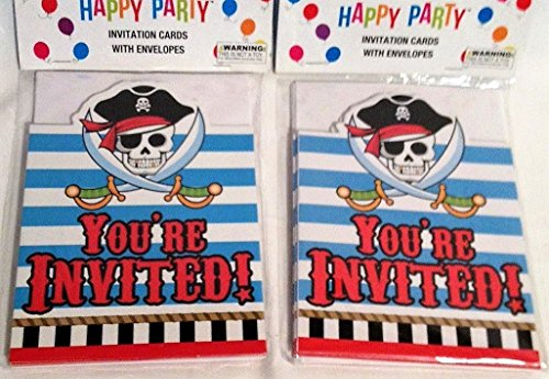 Happy Party Pirate Invitations 8 Count (Pack of 2 - For 16 guests)