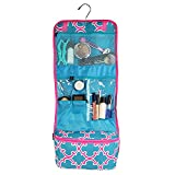 Clever Home Turquoise Quatrefoil Hanging Toiletry Cosmetic Organizer Roll with 6 Pockets and Pouch