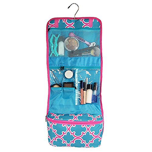 Clever Home Turquoise Quatrefoil Hanging Toiletry Cosmetic Organizer Roll with 6 Pockets and Pouch by Clever Home