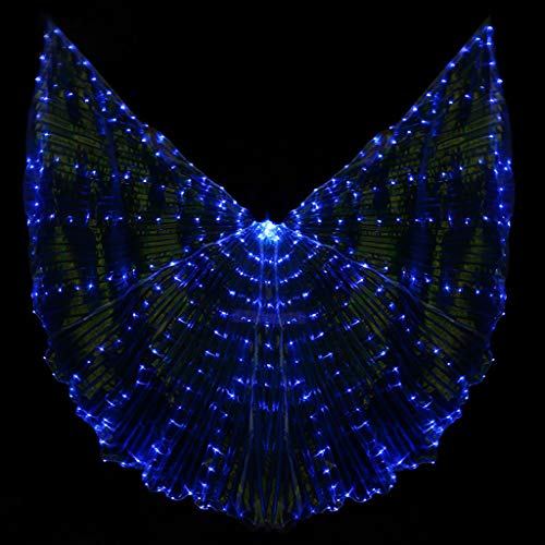 vegan Belly Dance Opening Angle Wings 360 Degrees LED Luminous Light Up Flexible Sticks,Adults Halloween Stage Performance Props White/Blue Color -