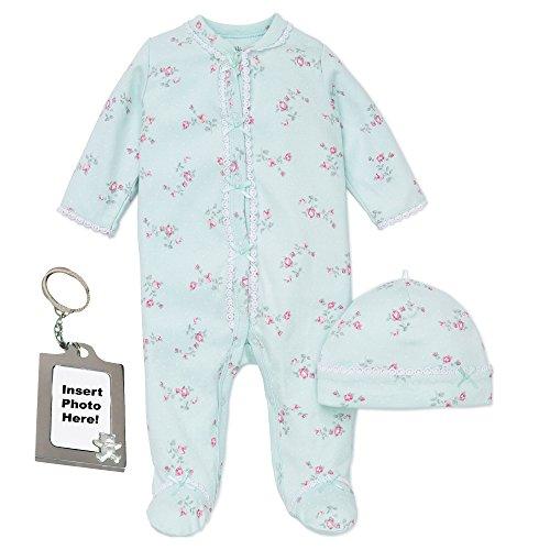 Little Me Girl Footie Footed Sleeper Sleep N Play Hat & Keychain Mint Green -