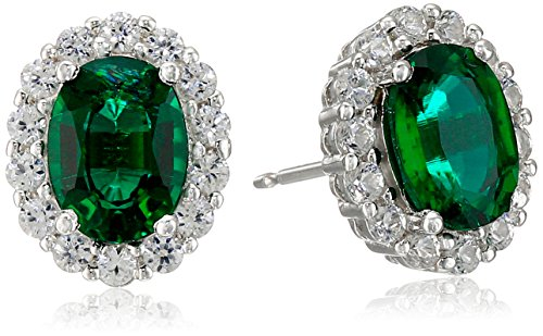 Emerald Sterling Plated - Rhodium Plated Sterling Silver Created Emerald 8x6mm and Created White Sapphire Oval Halo Earrings