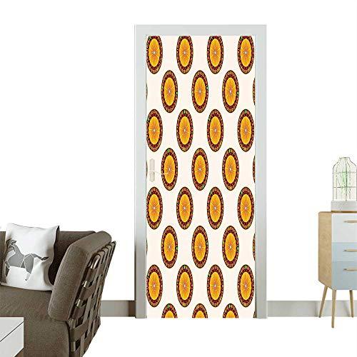 Homesonne Door Art Sticker Roulette Pattern Nights P En Ment Crowded Room decorationW38.5 x H79 INCH