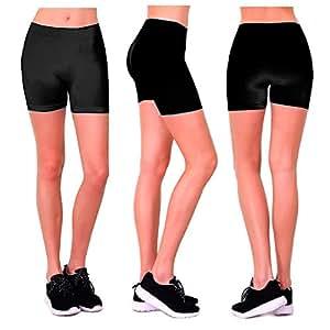 Seamless Basic Plain Tight Mini Sexy Shorts Stretch Spandex Pants Fitted Black