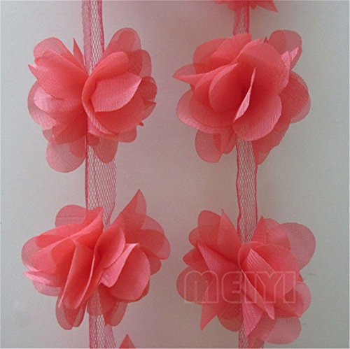3 Meters 3D Chiffon Cluster Flowers Petals Leaves Lace Edge Trim Ribbon 5 cm Width Colourful Edging Trimmings Fabric Embroidered Applique Sewing Craft Wedding Bridal Dress DIY Decor (Watermelon Red)