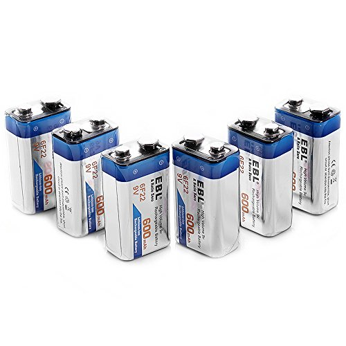 EBL 600mAh 9 Volt Li-ion Rechargeable 9V Batteries Lithium-ion, 6 Pack
