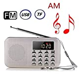 BeiLan Mini Digital AM FM Pocket Radio Portable Speaker Mp3 Music Player Stereo Sound Support TF Card USB Disk with LED Screen Display and Emergency Flashlight Function (White)