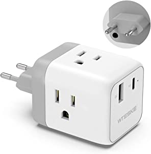 European Travel Plug Adapter, Wteske European Wall Plug Adapter with USB C Quick Charge Port, US to EU Travel Power Outlet Adaptor for France Germany Spain Italy (Type C)