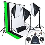 Linco Lincostore 2000 Watt Studio Lighting Kit W/ 3 Color Backdrop and Background Stand Photography Studio Flora X Fluorescent 4-Socket Light Bank and Auto Pop-Up Softbox -- Fast Setup Process