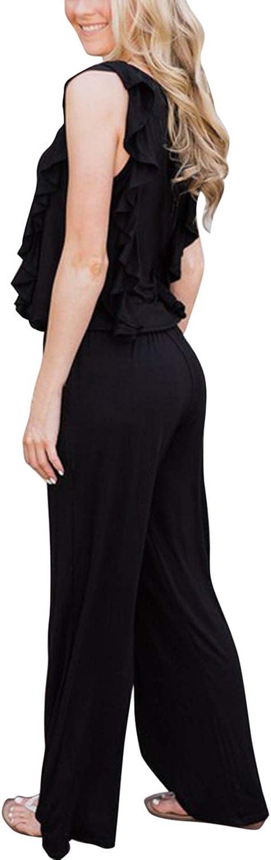 Selowin Women Sleeveless Ruffle Trim Drawstring Loose Fit Wide Leg Jumpsuits Rompers