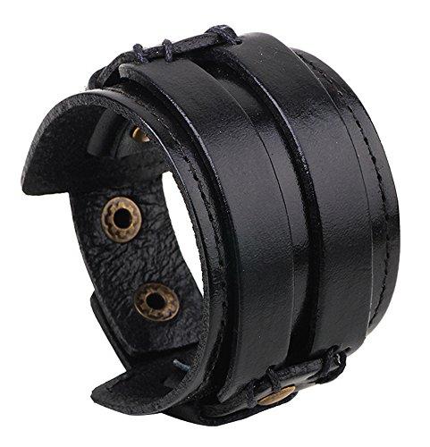 Leather Cuff Band - Hamoery Men Leather Bracelet Punk Braided Rope Alloy Bracelet Bangle Wristband(Black1)