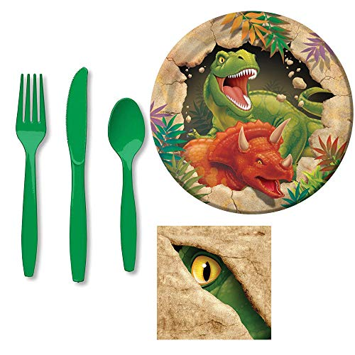 - Dino Blast Party Bundle Pack! Includes Plates, Napkins and Cutlery Assortment for 8 Guests