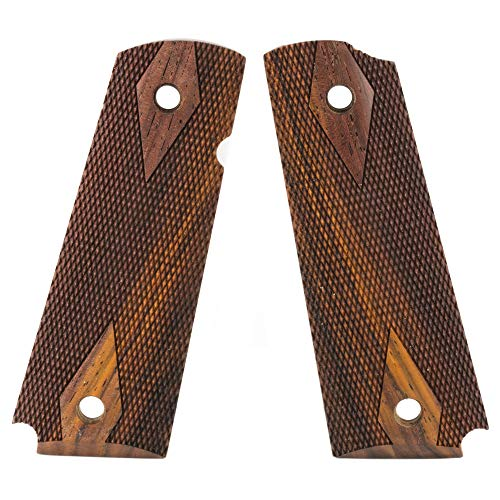 Hogue Colt & 1911 Government Grips Ambi-Cut Checkered Panels, Coco Bolo