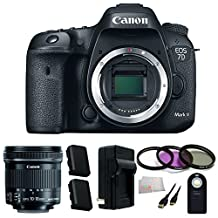 Canon EOS 7D Mark II Digital SLR Camera (Body Only) Accessory Kit. Includes 10-18mm f/4.5-5.6 IS STM Len + 3 Piece Filter Kit (UV-CPL-FLD) + 2 Extended Life Replacement Batteries(LP-E6N) + Charger + Mini HDMI Cable + Wireless Remote