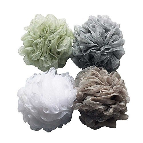 UHMei Bath Shower Sponge 4-Pcs Pouf Loofahs Mesh Brush Shower Ball, Mesh Bath and Shower Sponge