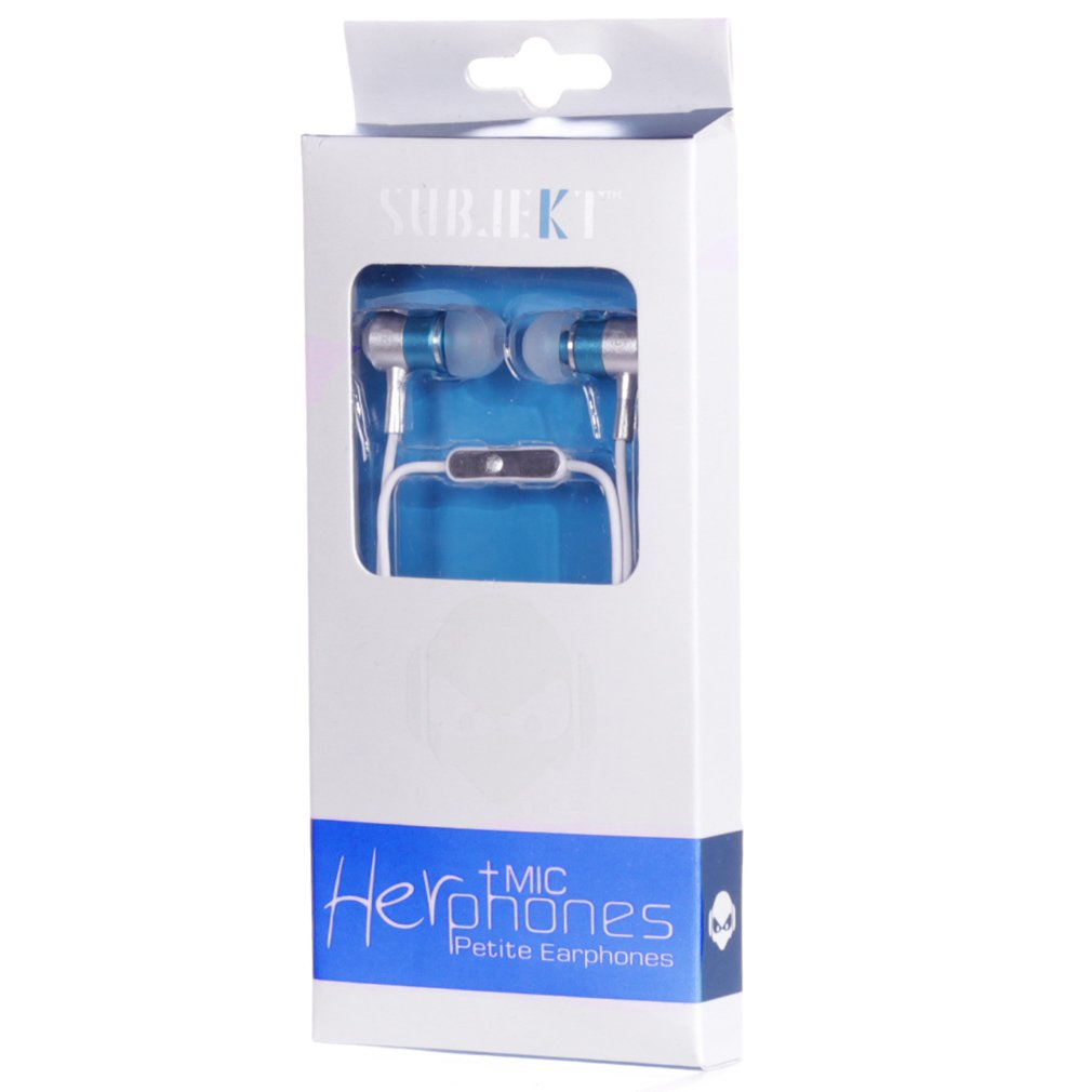 Subjekt HPM-21BL HerPhones Petite Earphones with Microphone Designed for Small Ears - Wired Headsets - Retail Packaging - Blue by Subjekt