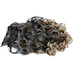 """PRETTYSHOP XXL Full Head Set 8 pcs 24"""" Clip In Hair Extensions Hairpiece Wavy Heat-Resisting brown blonde mix #8T25 CES19-1"""