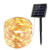 AOYOO Solar String Lights, 100 LED Copper Wire Lights, 8 Modes Starry Lights, Waterproof IP65 Fairy Lights for Outdoor, Wedding, Homes, Party (Warm White)