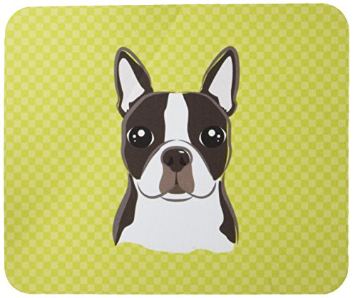 Caroline's Treasures Checkerboard Lime Green Boston Terrier Mouse Pad/Hot Pad/Trivet (Boston Trivet)