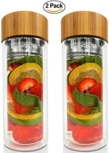 Dajour and Neoprene Sleeve Tea Fruit Infuser Water Bottle Glass Tumbler with Bamboo Lid Perfect for Fruit with High Quality Stainless Steel Loose Leaf Strainer
