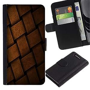 KingStore / Leather Etui en cuir / Sony Xperia Z3 Compact / Braid cesta Patrón Dise?o de la estructura del material