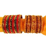 Set of 2 Wide Red Gold Multi Color Hand Beaded Samantha Style Cuff Bracelet