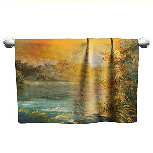 alisoso Country,Small Bath Towels Pastel Color Sunset on The Lake in Fall Autumn Scenery in Retro Art Drawing Hotel Pool Towels Green Orange Blue W 28