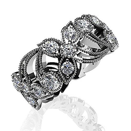 14K Or blanc fleur Diamant éternité