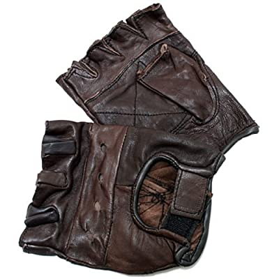 Men's Brown Extra-large Leather Fingerless Gloves with Velcro Strap. Heavy Duty a Great Match with Leather Leather Boots. Sale Clothing. Great for Work or Driving Your Harley Davidson Motorcycle. A Great Peace of Motorcycle Apparel and Gear.